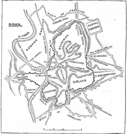 Map of Rome, showing the Servian Wall and the Seven Hills