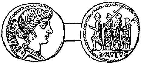 Coin representing the children of Brutus led to death by Lictors