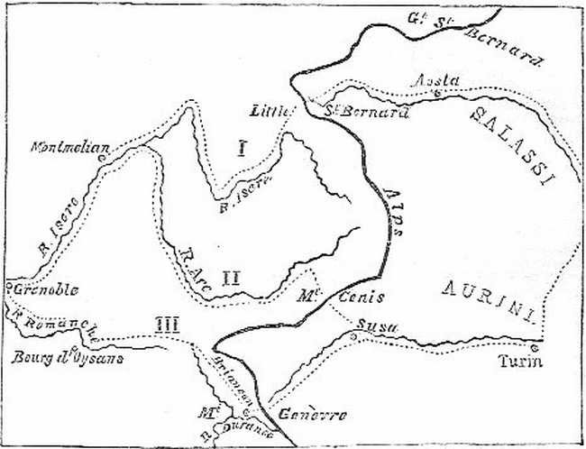 Route of Hannibal. (See p. 90.)
