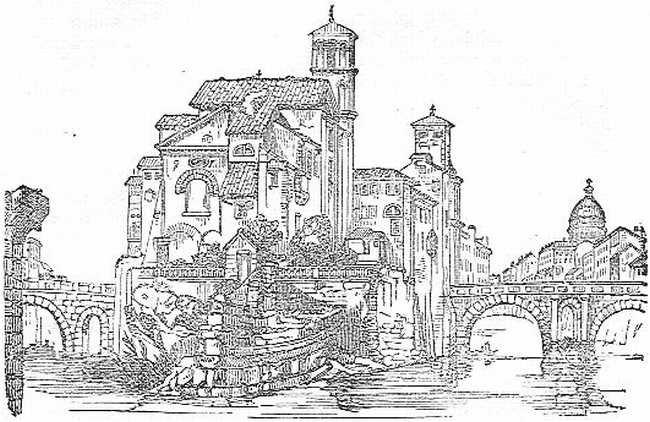 Island in the Tiber, with the Fabrician and Cestian Bridges