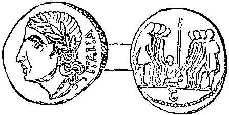 Coin of the Eight Italian Nations taking the Oath of Federation