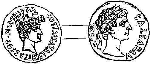 Gold coin of Agrippa, with head of Augustus
