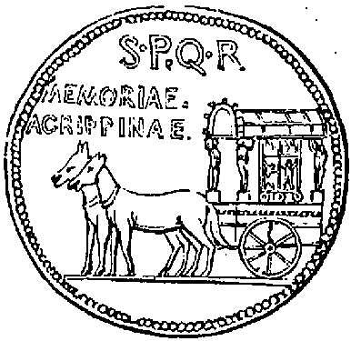 Medal of Agrippina, showing the Carpentum, or chariot, in which the Roman ladies were accustomed to ride